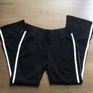 NWOT black 100%cotton white striped pants